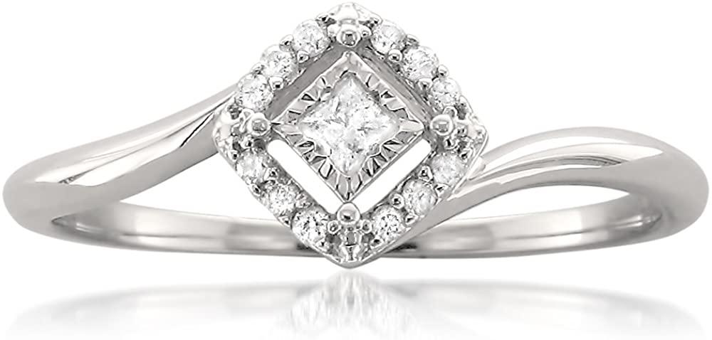 10k White Gold Princess-cut & Round Diamond Promise Ring (1/8 cttw, H-I, I2-I3)