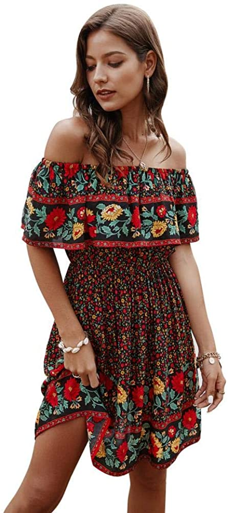 Womens Off Shoulder Bohemian Ruffle Dress Floral Summer Dress Casual Mini Sundress Sleeveless Strapless