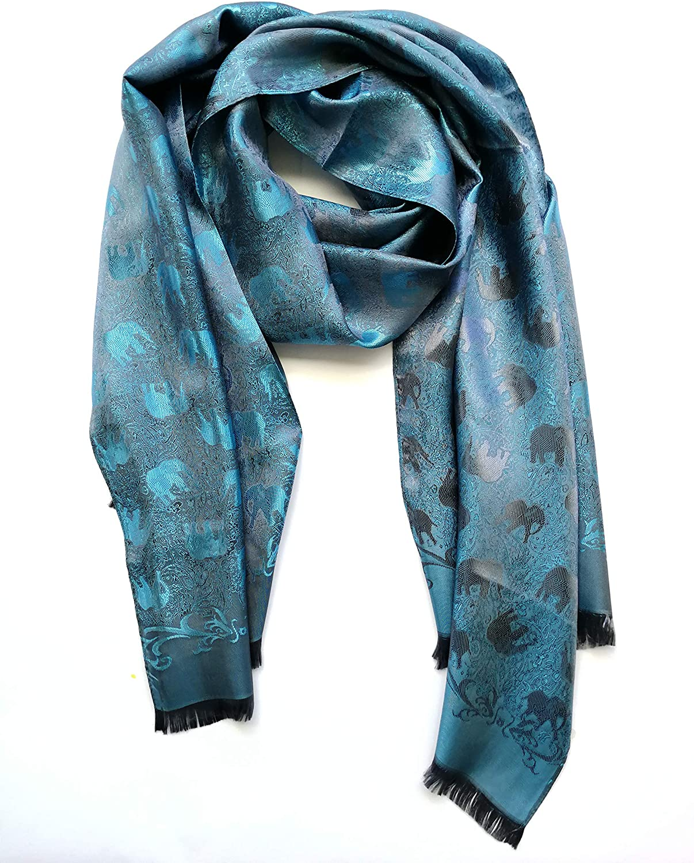 Scarves Elegant Pattern Lightweight Womens Elephant Silk Scarfs for Women