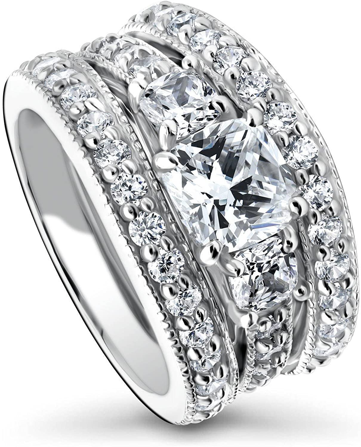 BERRICLE Rhodium Plated Sterling Silver Cushion Cut Cubic Zirconia CZ 3-Stone Anniversary Engagement Wedding Ring Set 3.24 CTW