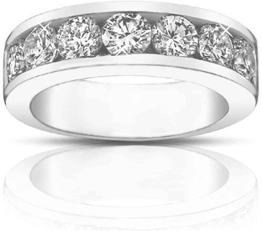 Madina Jewelry 1.75 Ct Round Cut Diamond Wedding Band Ring in 14 kt White Gold in 14 kt White Gold