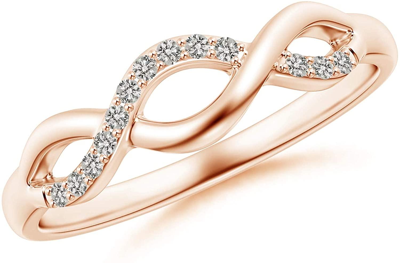 President's Day Sale - Single Sided Diamond Criss-Cross Infinity Ring (1.1mm Diamond)