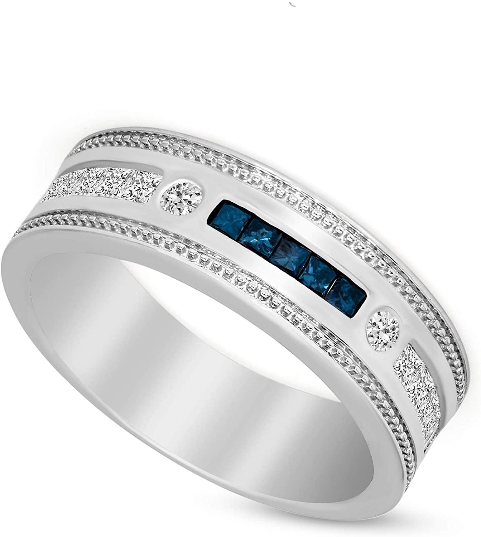 3/8 carat Diamond Rings 10K White Gold Natural Diamond Wedding Bands GH-I1 Quality Flush Setting Blue Diamond Rings 100% Real Diamond Jewelry Gifts for Women
