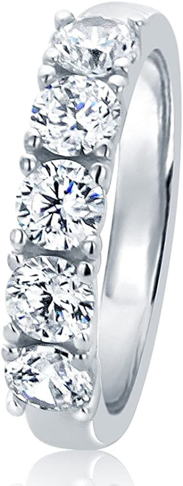 925 Sterling Silver Ring Round 1.2 carat CZ Stone Prong Set Five Stone Wedding Anniversary Ring 4MM (Size 5 to 10)