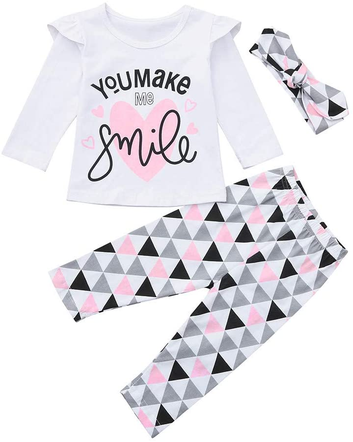 Clothful_Clothes Newborn Toddler Infant Baby Girls Letter Print Tops Geometric Pants Outfits Set