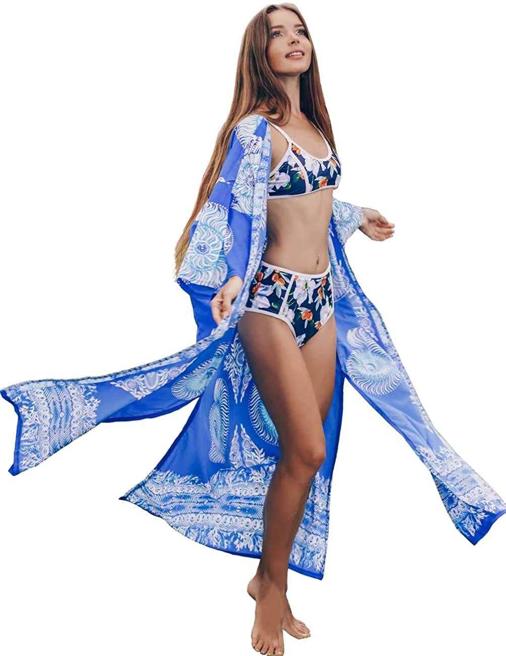 Women's Beach Cover Ups Cardigan Open Front Half Sleeve Long Bikini Kimono Quick-Drying Floral Printed Blue (287)