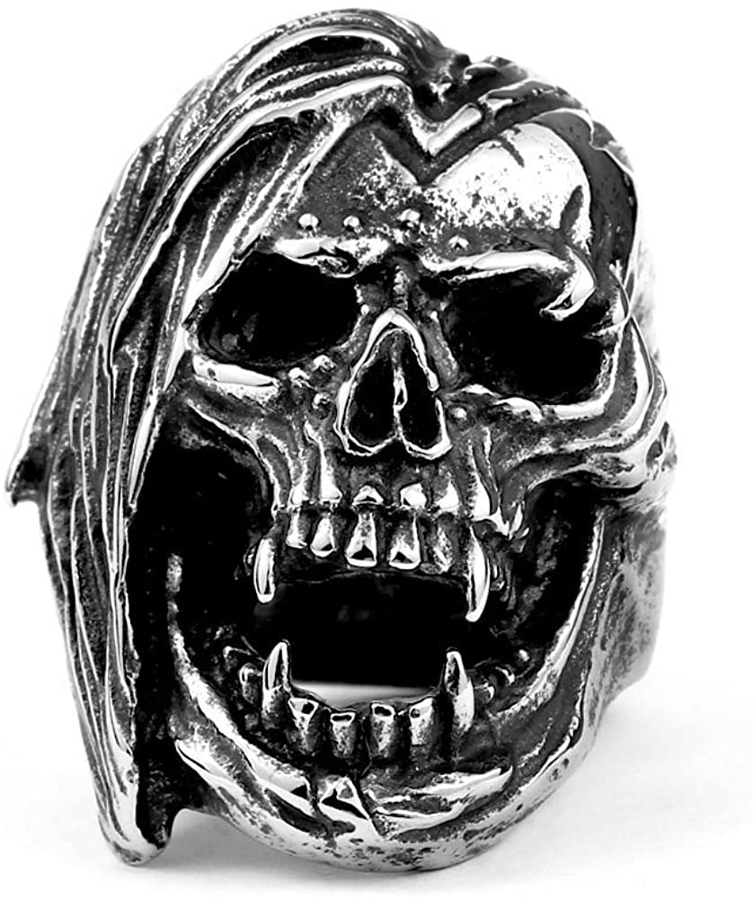 ZMY Mens Fashion Jewelry Rings, 316L Stainless Steel Exaggerated Skull Ring for Men