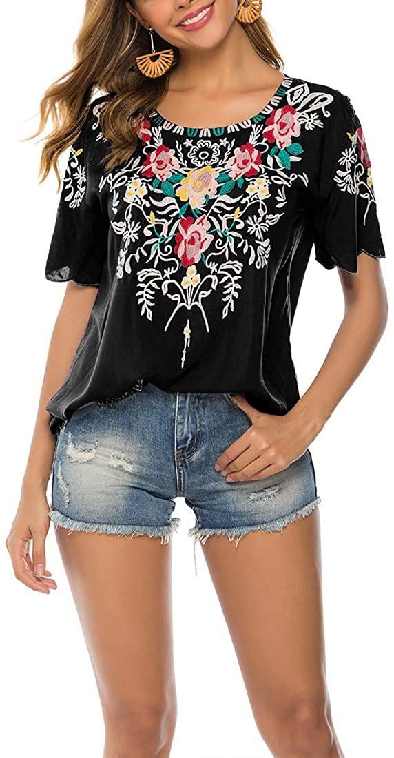 AK Women's Summer Boho Embroidery Mexican Bohemian Tops Shirt Tunic Blouses 082