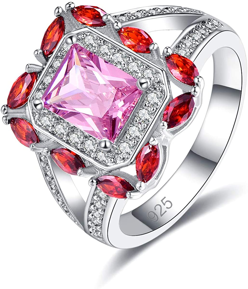 Emsione 925 Sterling Silver Plated Created Rainbow Topaz Womens Ring Best Gift for Women Girls