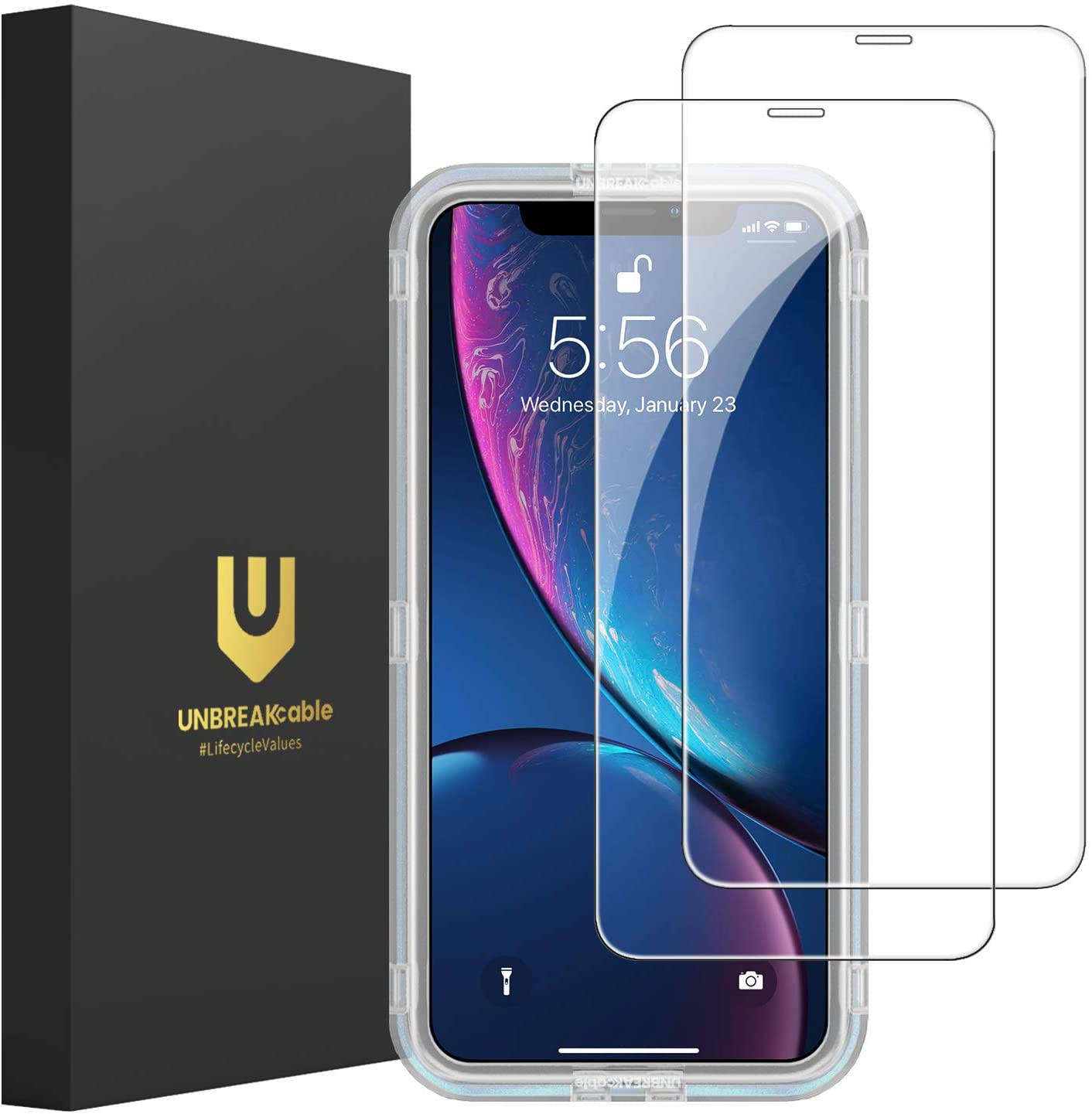 UNBREAKcable Screen Protector Compatible for iPhone 11, iPhone XR [2 Pack], Double Defense Series Premium Tempered Glass Screen Protector for iPhone 6.1 Inch (2019)