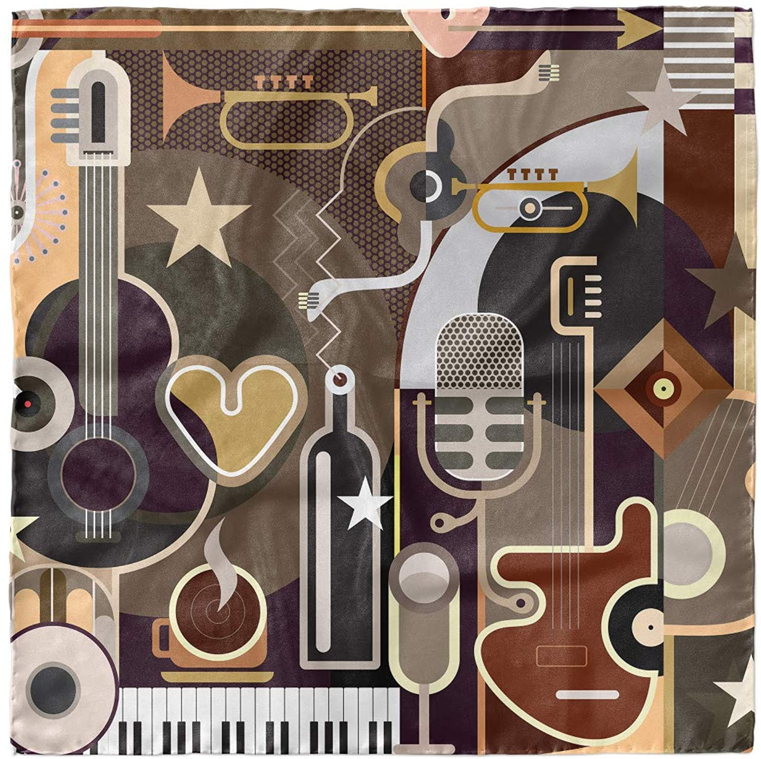 Ambesonne Music Head Scarf, Musical Instruments Abstract, Hair Wrap