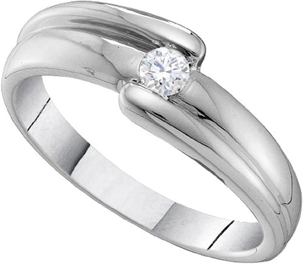 Dazzlingrock Collection 0.15 Carat (ctw) 14K Round Cut White Diamond Ladies Fashion Bridal Solitaire Engagement Ring, White Gold