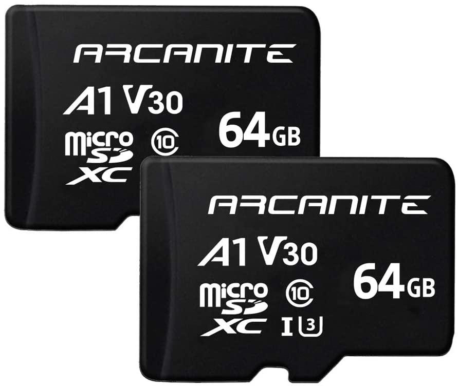 ARCANITE 2 Pack 64GB microSDXC Memory Card - UHS-I U3, A1, V30, 4K, C10, MicroSD, Optimal Read speeds up to 90 MB/s (AK2PV30A164)