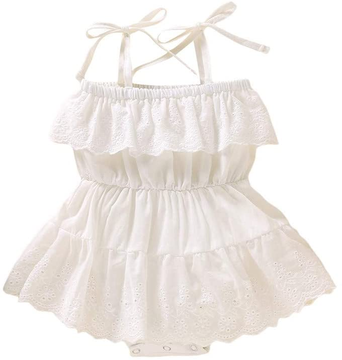 Newborn Infant Baby Girl Sleeveless Solid Lace Dress Romper Clothes Outfits