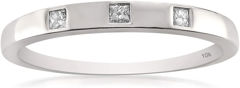 10k White Gold Princess-cut Diamond Bridal Wedding Band Ring (1/10 cttw, H-I, I1-I2)