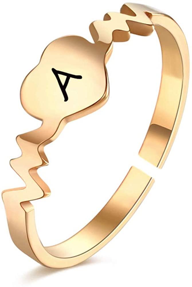 NOUMANDA Creative Initial Letter Love Heart Heartbeat Custom Ring Open Finger Circle Female Jewelry
