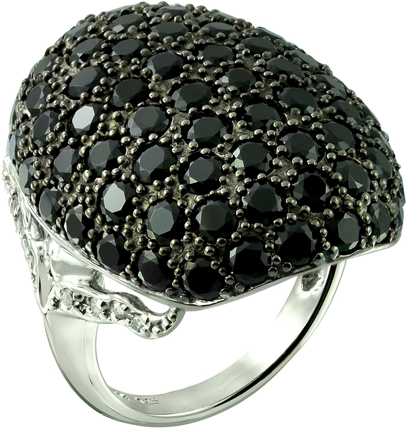 RB Gems Sterling Silver 925 Statement Ring Genuine Black Spinel 8 Cts Cluster Style Rhodium-Plated Finish