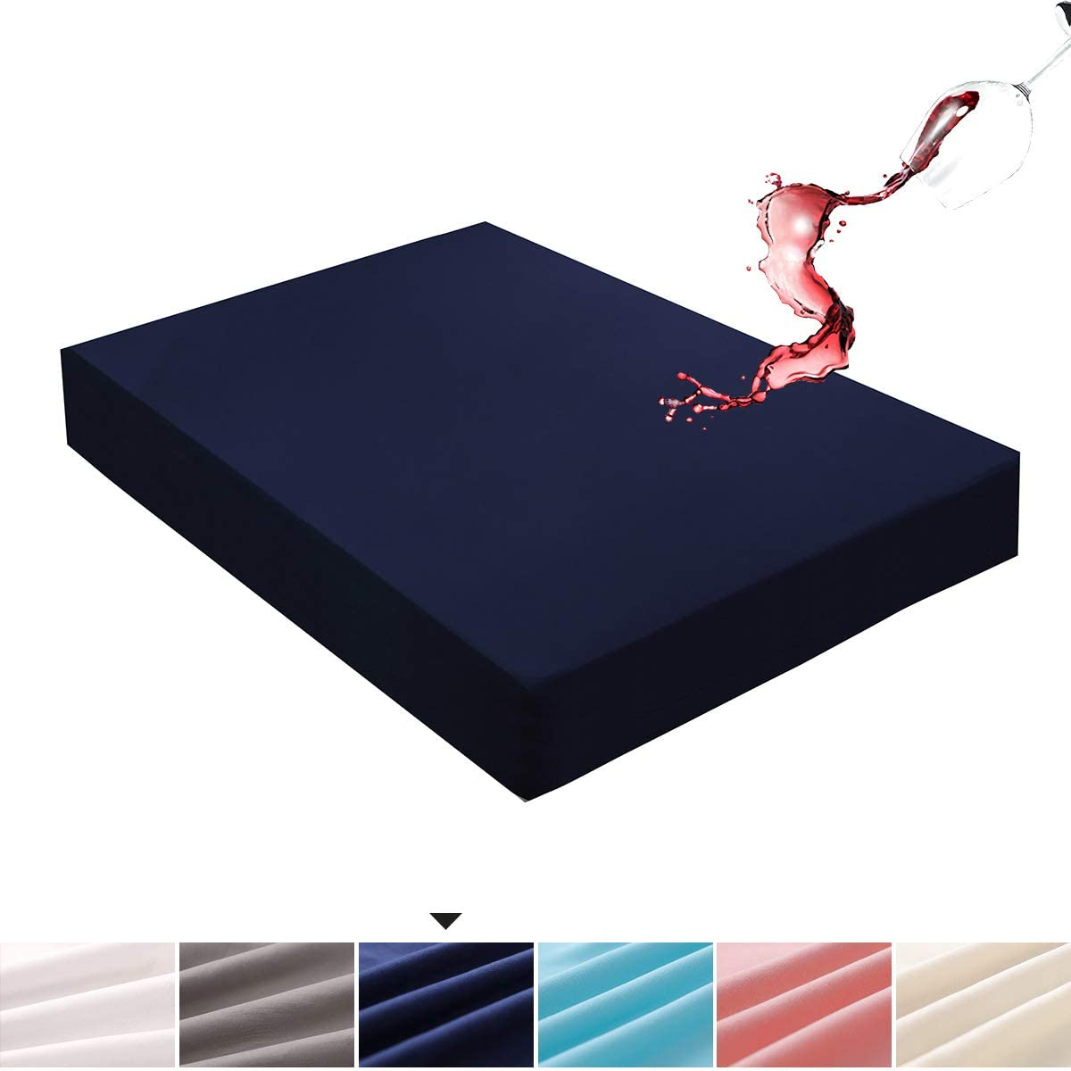 Mecerock Navy King Size Waterproof Mattress Pad Protector Cover Fitted to 18