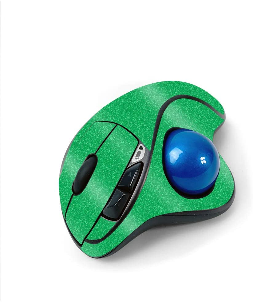 MightySkins Glossy Glitter Skin for Logitech M570 Wireless Trackball Mouse - Solid Green | Protective, Durable High-Gloss Glitter Finish | Easy to Apply, Remove, and Change Styles | Made in The USA