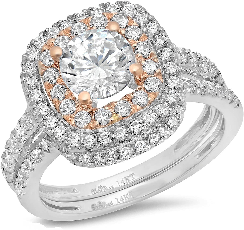 Clara Pucci 1.9 CT Round Cut Pave Double Halo Bridal Engagement Wedding Ring Band Set 14k White Rose Gold
