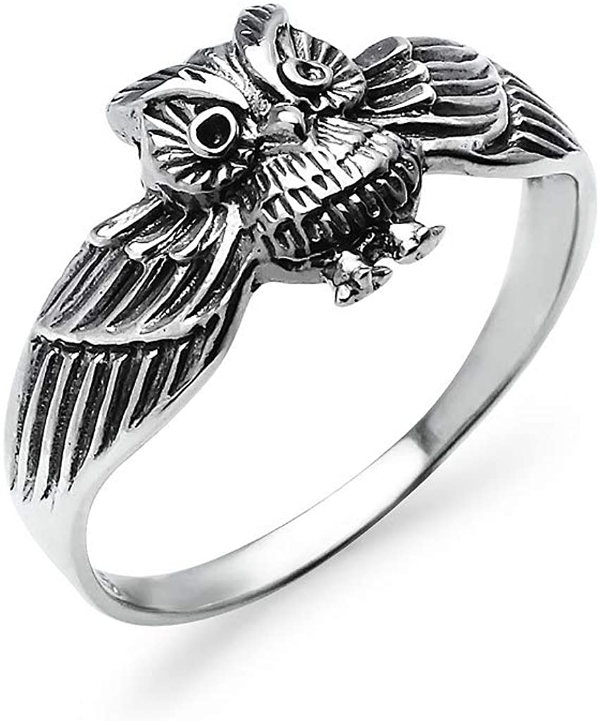 Sterling Silver Vintage Owl Bird Band Ring For Women Men | Charm Friendship Promise Jewelry | Sizes 5-10