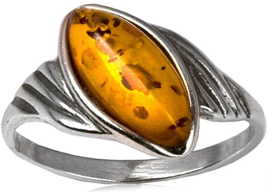 Sterling Silver Amber Oval New Style Ring