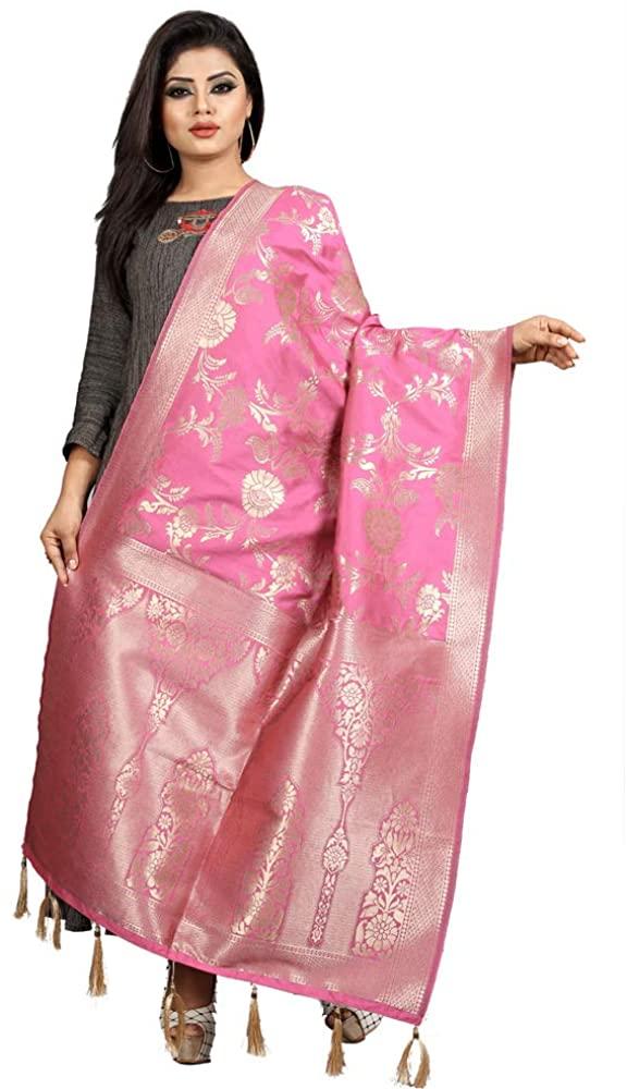 kfgroup Women'S Banarasi Slik Zari Work Indian Ethnic Dupatta Stole Scarf