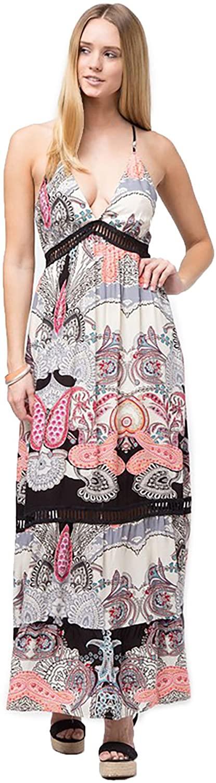 SHOPGLAMLA Printed Hidden Pocket Poly Rayon Mixed Non Sheer Maxi Dress Made in USA