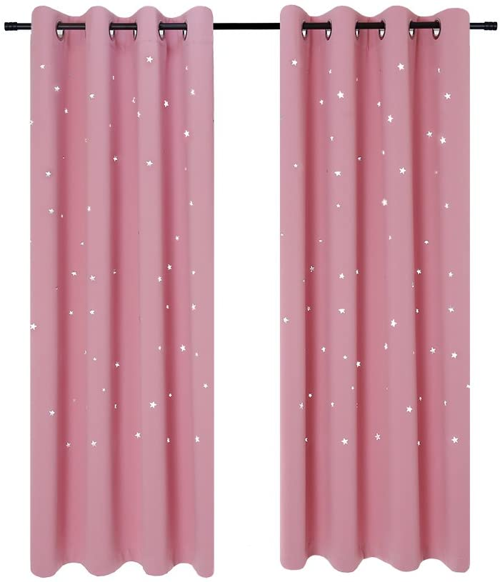 Anjee Blackout Cut Out Stars Curtains for Girls Bedroom Thermal Insulated Light Blocking Window Curtains Drapes for Kids Room Nursery 2 Panels 52 x 63 Inches, Baby Pink