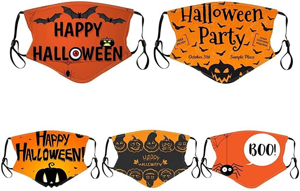 5/6pcs Reusable_Face_Guard, Halloween Pumpkin Mixed Print Washable Face_Bandanas for Boys and Girls Party Holiday
