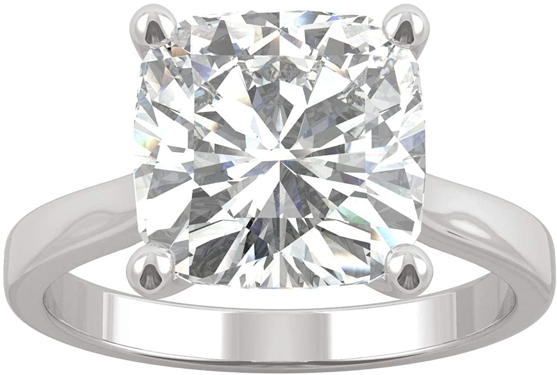 14K White Gold Moissanite by Charles & Colvard 9.5mm Cushion Engagement Ring, 4.20ct DEW