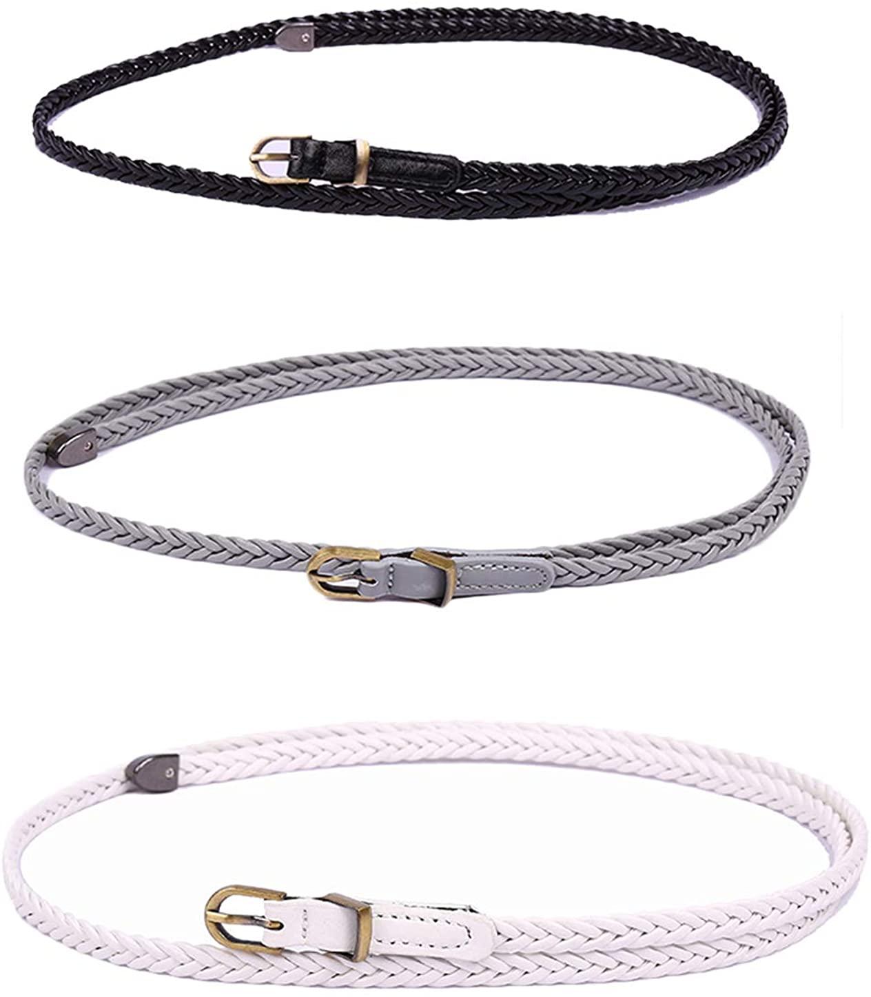 uxcell Women Woven Matel Keeper Arrow Tail Round Pin Buckle Slender Waist Belt black grey white