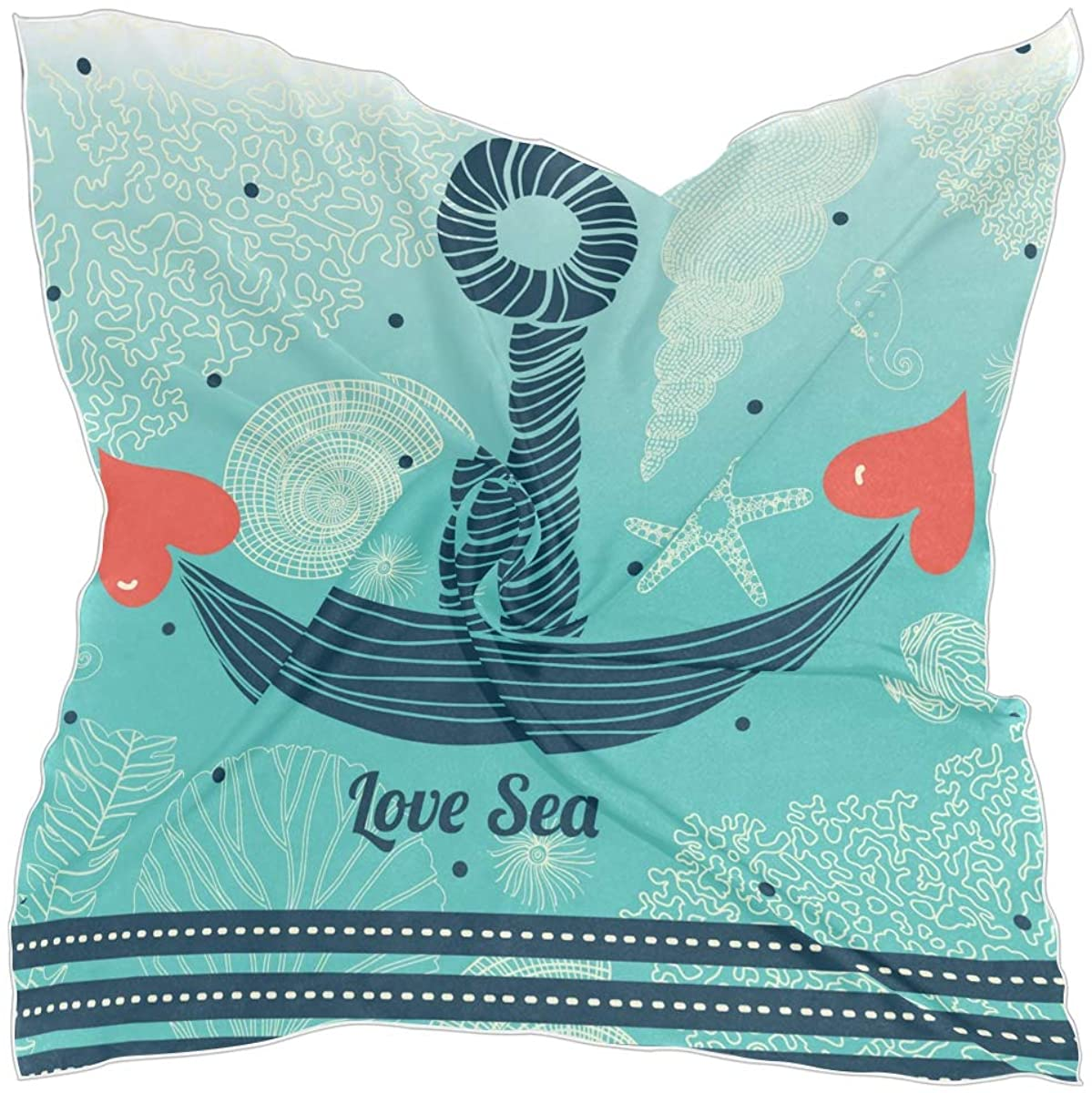 Women Square Scarf Love Sea Anchor Hair Scarves Silk Like Soft Wraps Headscarf Breathable Neck Scarf