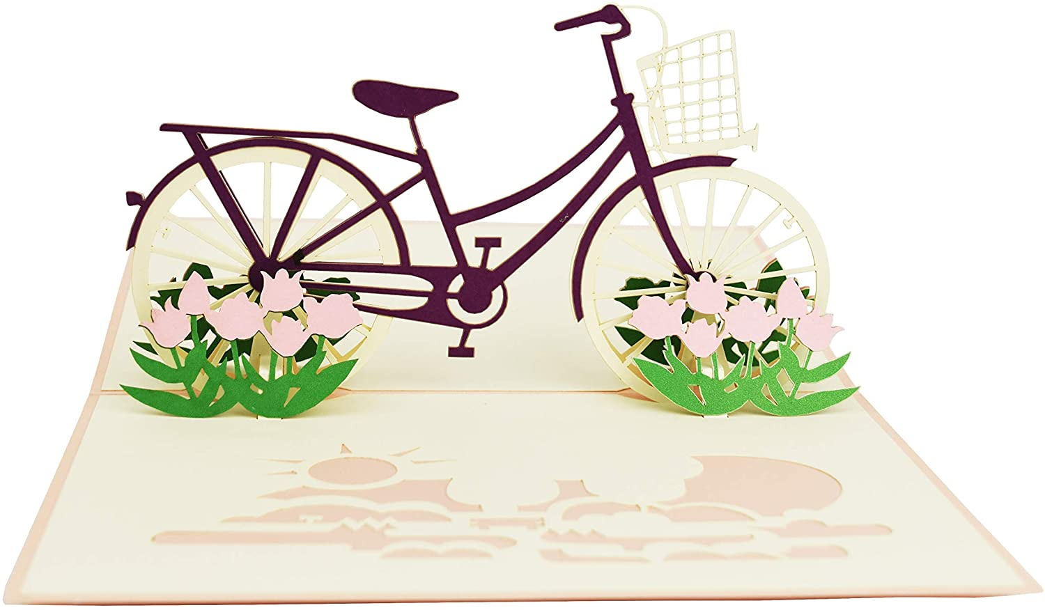 Pink Bicycle with Flowers Pop Up Greeting Card for Birthday Graduations Mothers Day Congratulations Party All Occasions by Teabug Cards