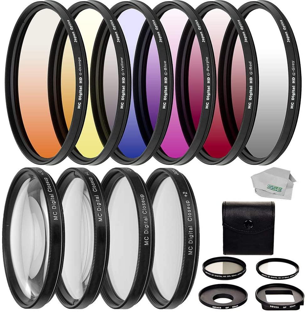 Professional 4PC HD Macro Close-Up Lenses + 6PC Professional Gradual Color Filter Kit + 58mm Professional Filter Kit for GoPro Hero 3, Hero 3+, Hero 4