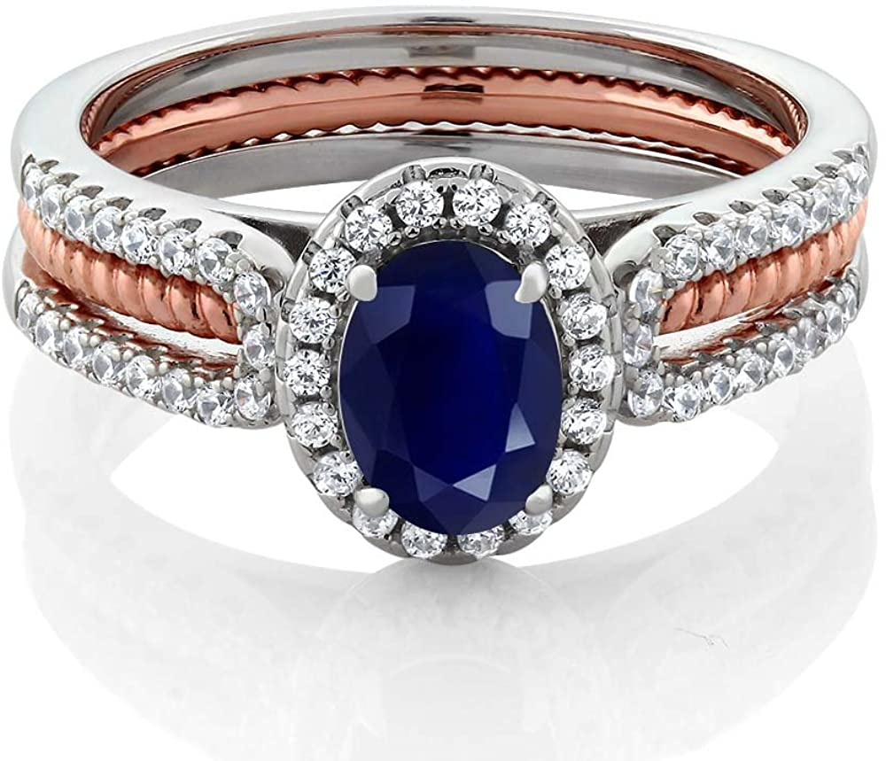 Gem Stone King 925 2-Tone Sterling Silver Blue Sapphire Women's Wedding Band Engagement Insert Ring (1.64 Cttw Oval Gemstone Birthstone, Available 5,6,7,8,9)