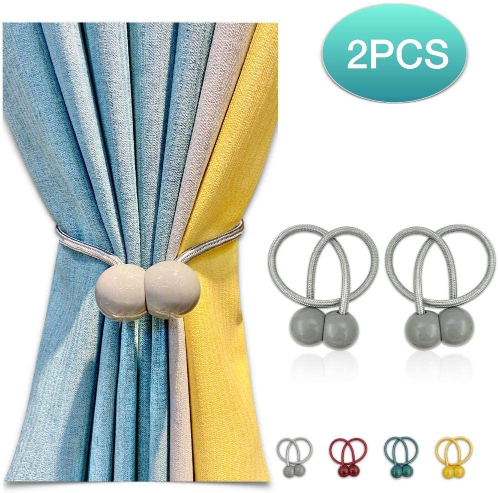 2 Pack Magnetic Curtain Tiebacks 16 inch Curtain Holdbacks Decorative Rope Curtain Clips Window Curtain Tie Convenient Drapery Curtain Buckle for Sheer Curtains & Blackout Curtains, No Need Drilling