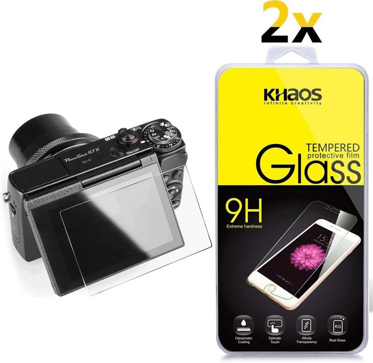 [2 Pack] Screen Protector for Canon G5X G7X G9X, KHAOS Tempered Glass Screen Protector for Canon PowerShot G5X G7X G9X G7 X Mark II 9H HD-Clear Ant-Scratch Glass Protector