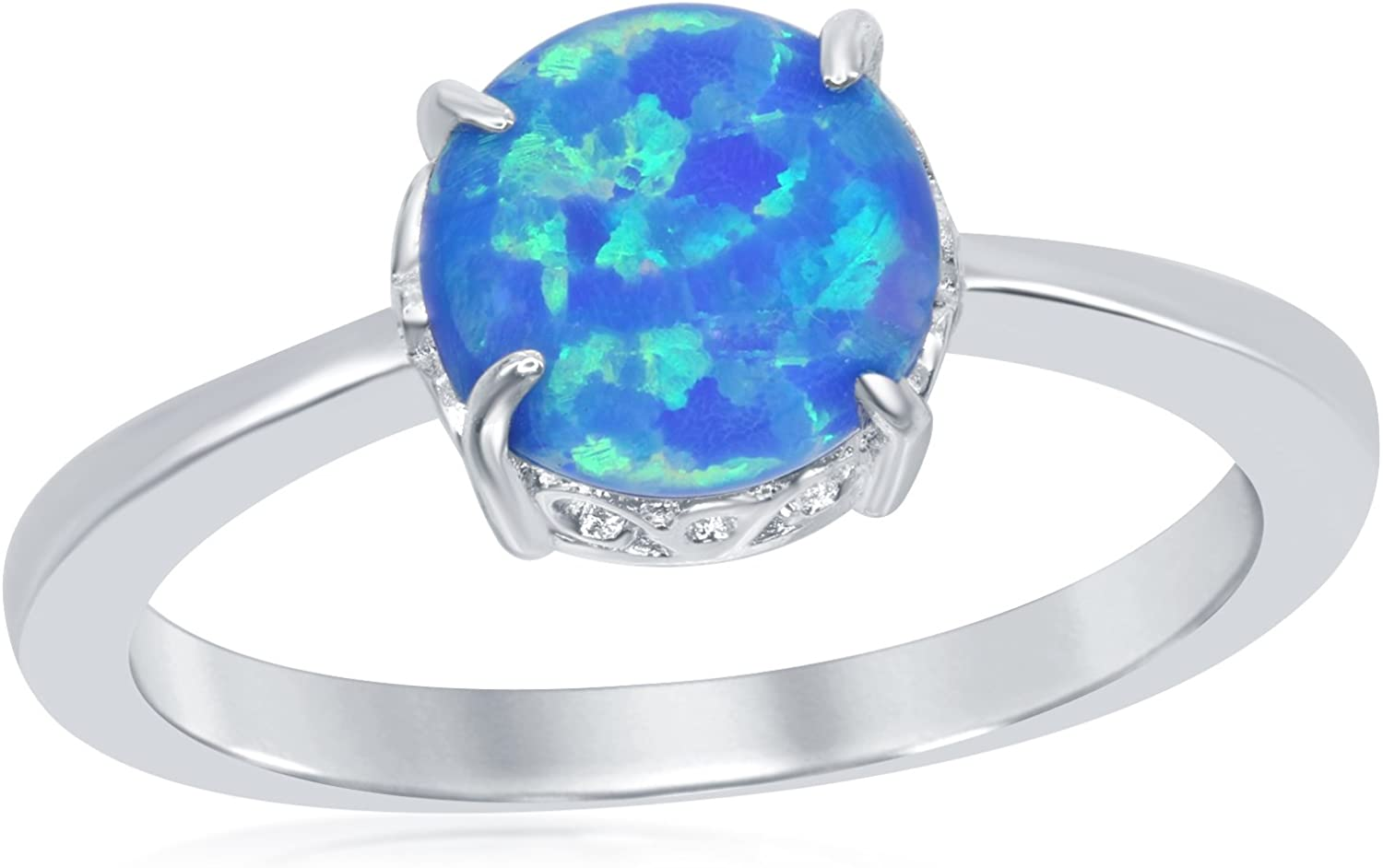 Sterling Silver Created Blue Opal 8mm Round Filigree Design Ring