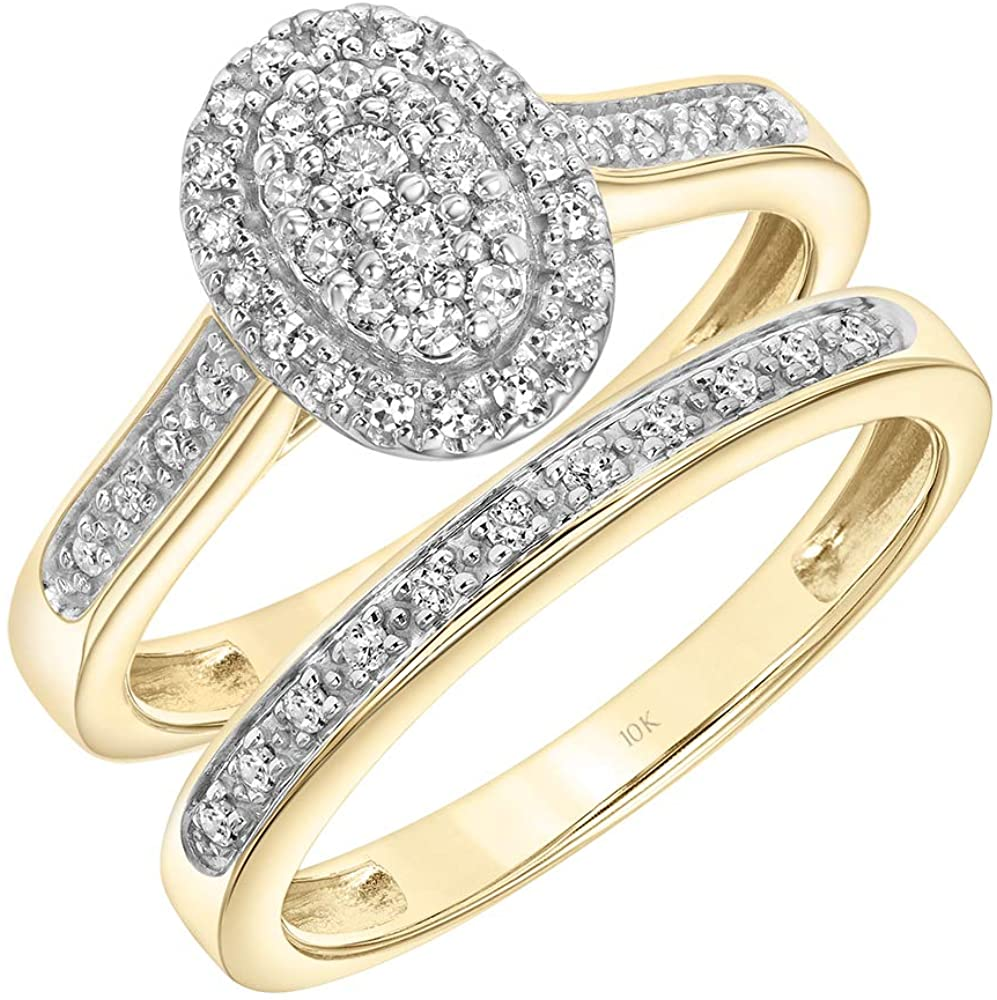 Brilliant Expressions 10K Yellow and White Gold 1/4 Cttw Conflict Free Diamond Oval Halo Cluster Sloped Band Bridal Set (I-J Color, I2-I3 Clarity)