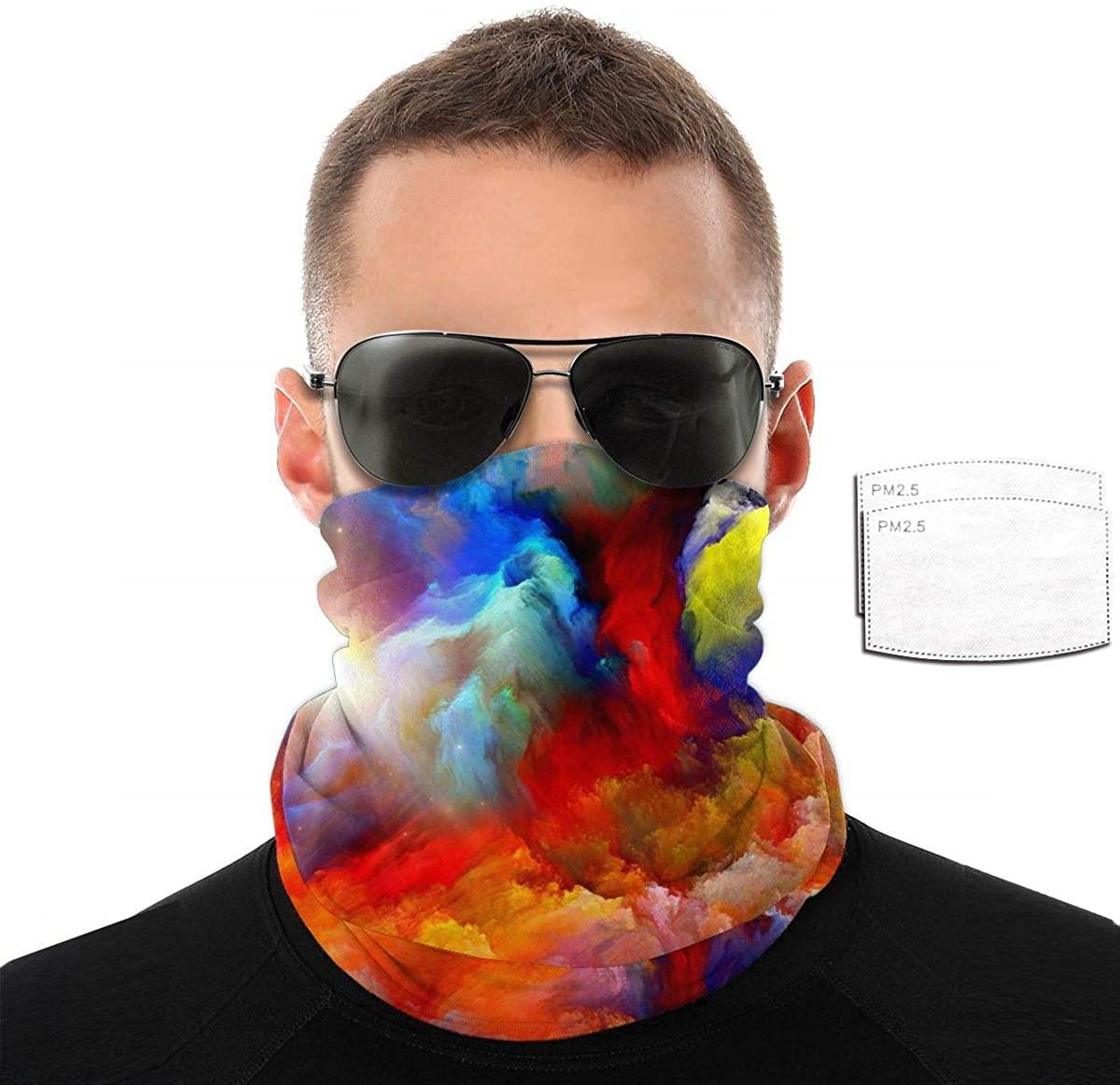 Women Men Kids Bandanas Neck Gaiter with Filters, Multi-Purpose Headwear