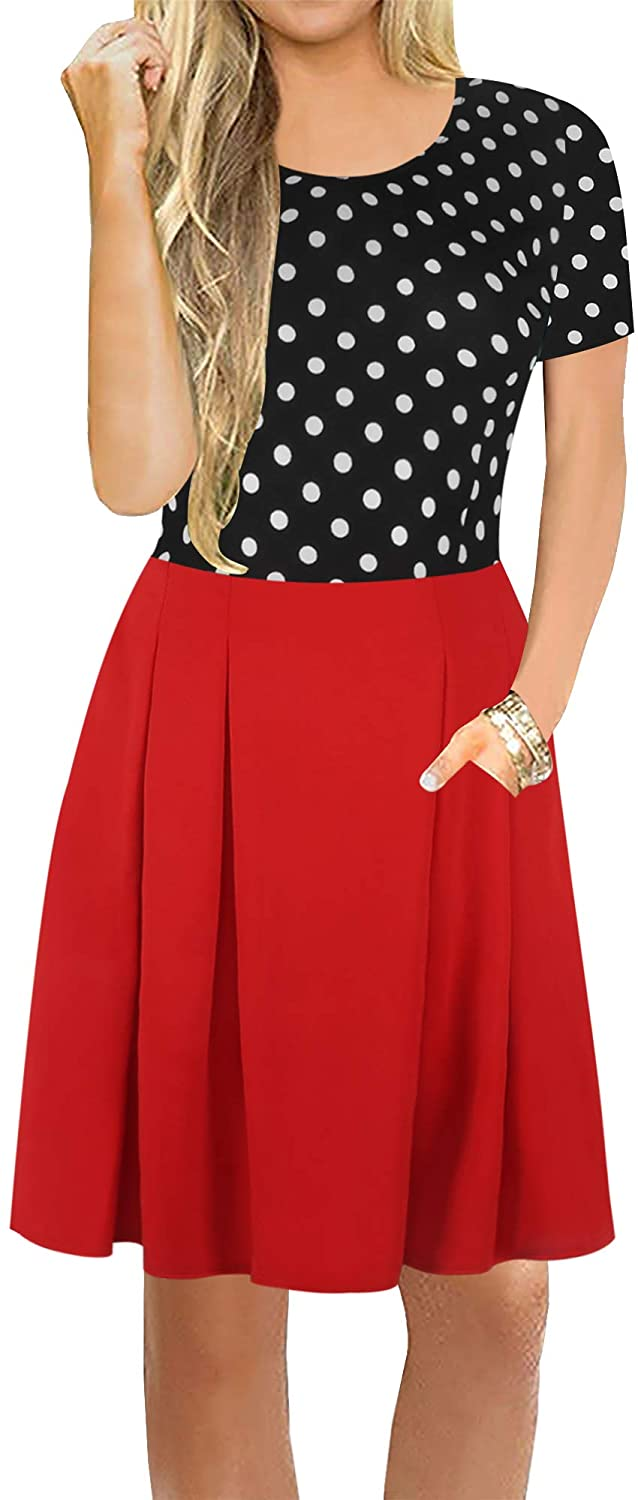 oxiuly Womens Chic Floral Polka Dot Patchwork Slim Mini Swing Summer Casual Dress with Pockets OX307