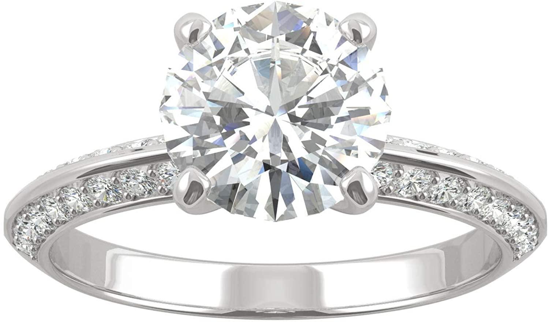 14K White Gold Moissanite by Charles & Colvard 8mm Round Engagement Ring, 2.26cttw DEW