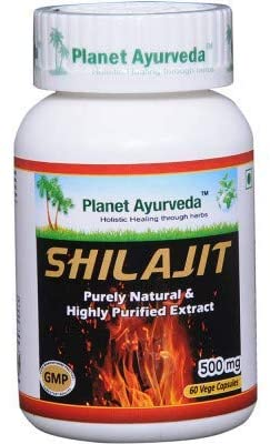 Planet Ayurveda Shilajit Capsules | Antioxidant Fulvic Acid & Trace Minerals Supplement for Immune Support | Improve Vigor and Stamina, Balance Psychic Energies| 60 Veg Capsules Each, Pack of 1