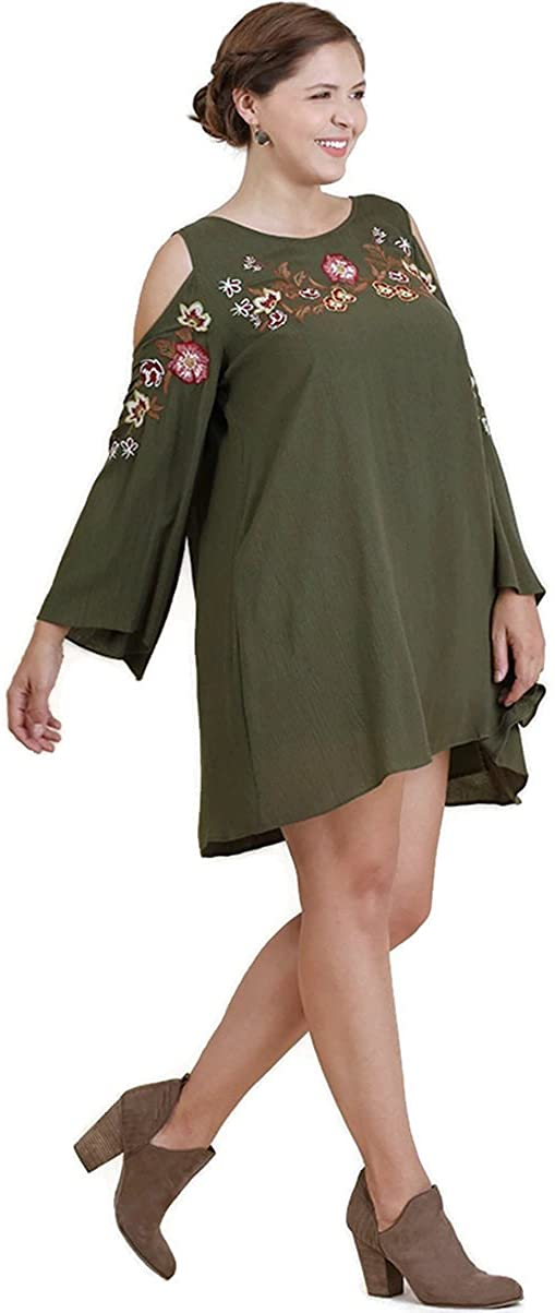 Umgee Women's Floral Embroidered Open Shoulder Angel Sleeve Dress Plus Size