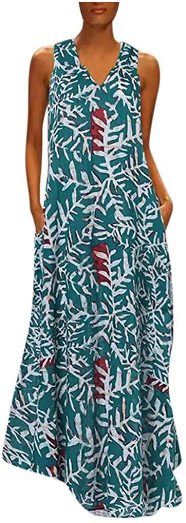 Hotkey Women Dresses Vintage Printed V Neck Maxi Dress Kaftan Sleeveless Casual Loose Summer Swing Tunic Tank Dress