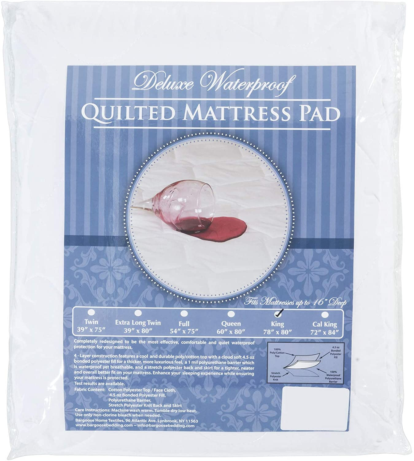 BARGOOSE HOME TEXTILES, INC. Waterproof Mattress Pad, Deluxe Quilted, Fitted Mattress Topper, Breathable, Quiet, Comfortable Allergen Barrier, Stretch up to 16 Inches, White, Twin XL