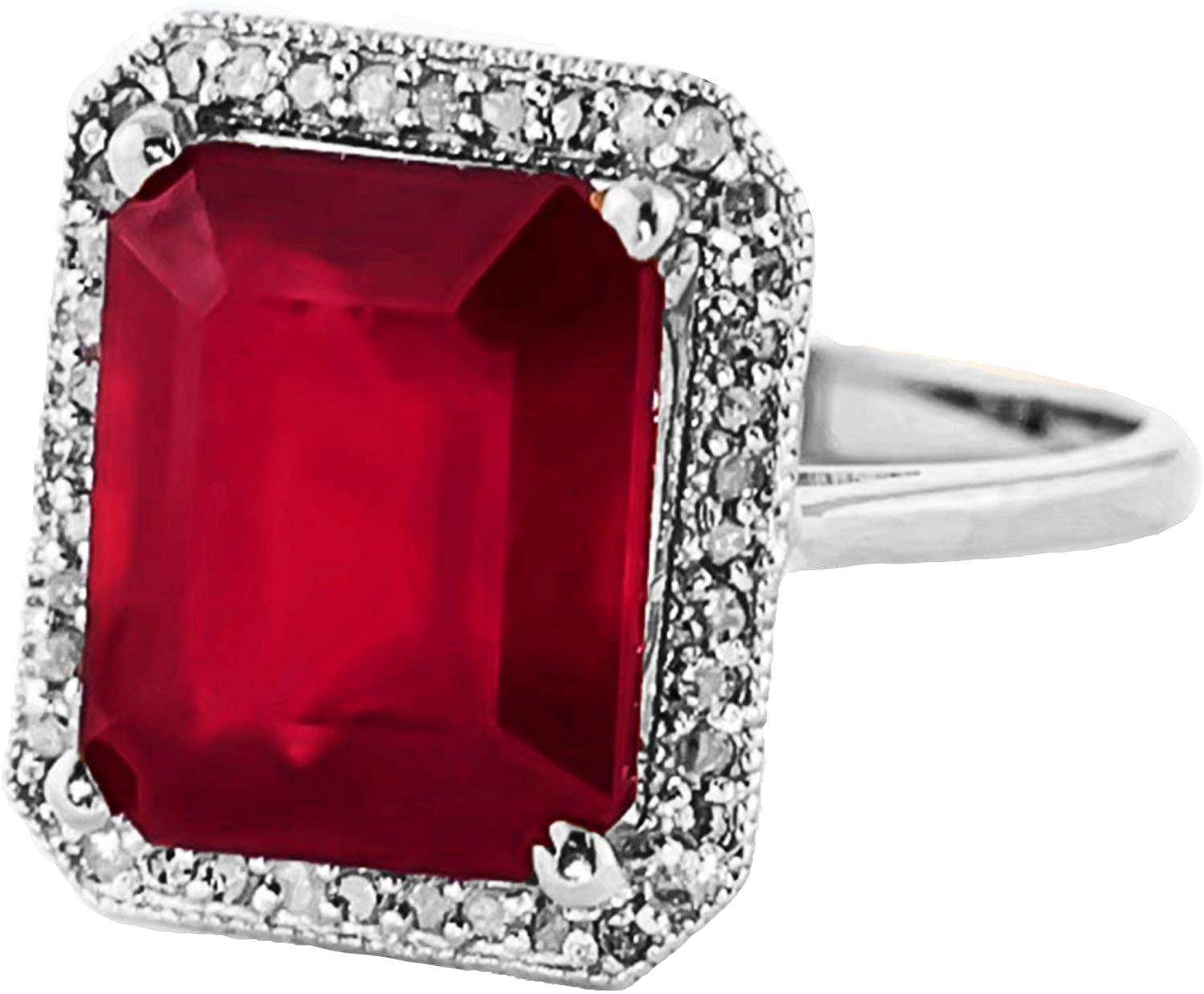 Galaxy Gold 7.45 ct 14k Solid Gold Emerald Cut Ruby Halo Diamond Ring 4894 (White-Gold, 5.5)