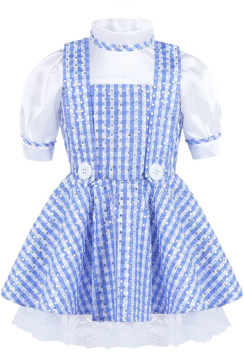 Alvivi Baby Girls Sequined Polka Dots Plaid Halloween Dressing up Kids Cosplay Party Dress Costume