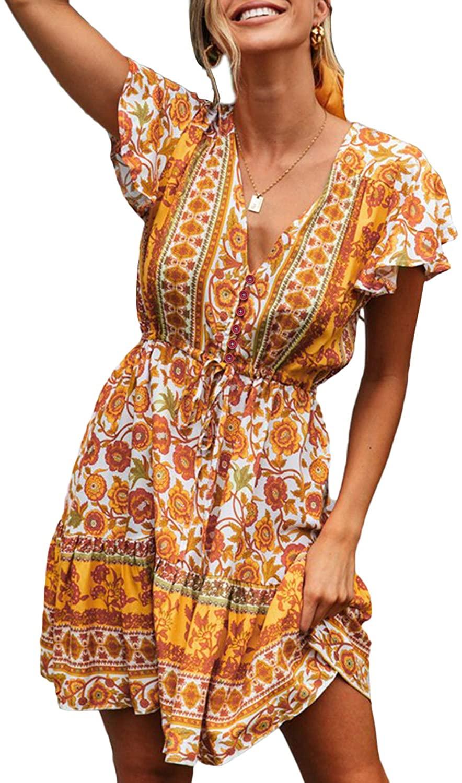 Dearlove Women Boho Floral Printed Dresses V Neck Short Sleeve Mini Dresses